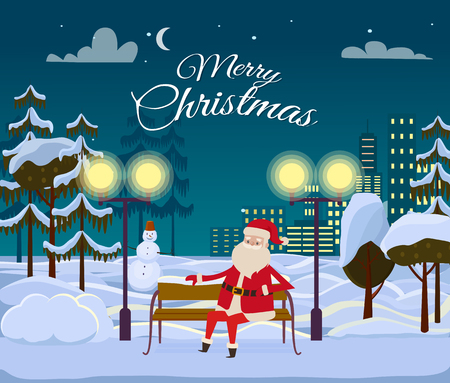 Merry Christmas from Santa among forest and white field on night city background. He is sitting on wooden bench. Block of flats with switched lights. Stars and moon on winter sky vector illustration Ilustração
