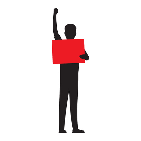 Man silhouette holding red paper.