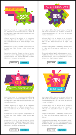 Exclusive on all products, best and big sale, set of pages with stickers, text and buttons saying read more and buy now vector illustration web posters Çizim