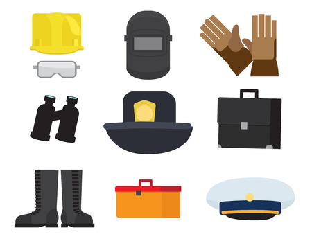Illustration of safety glasses and helmet, welding mask, binoculars and cap, lifesavers hat, rubber mittens and boots.