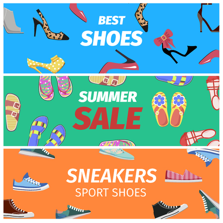 Best summer sale of sneakers sport shoes set of colorful banners. Footwear shopping concept. Buy elegant stilettos, comfortable sneakers, summer flip-flops with discount vector illustration. Çizim