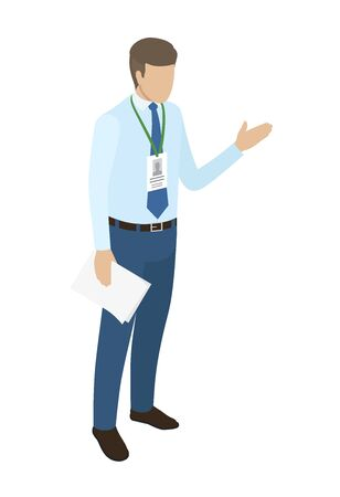 Young manager with name badge on neck holds paper in one hand vector illustration. Office worker dressed in blue shirt and navy jeans