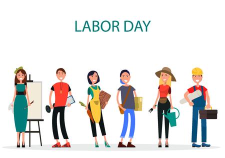 Labor Day of Different Professions Graphic Design. Stock Illustratie