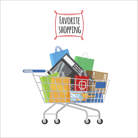 Favorite Shopping conceptual banner. Shopping trolley full of bags and boxes on white background. Shopping-themed isolated vector illustration of cart with different stuff. Biggest dream of shopaholic. Illustration