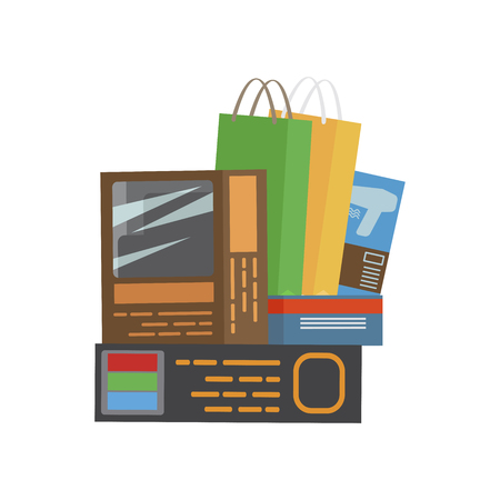Bunch of purchases consists of bags and boxes on white illustration.