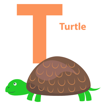 Alphabet Illustration for Letter T with Turtle.