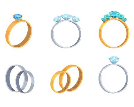 Verzameling verlovingsringen met edelsteen