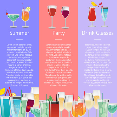 Summer Party Drink Glasses Alcoholic Beverages Фото со стока