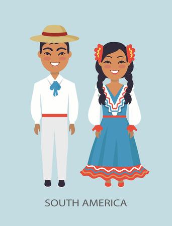 South America Culture, Customs Vector Illustration Stok Fotoğraf