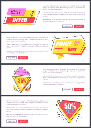 Best offer sale advertising with colorful signs forming geometrical figures. Vector illustration with room for buttons and text content.