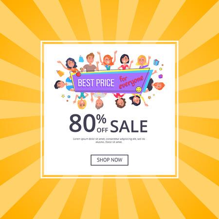 幸せな顧客とみんなのプロモーションポスターのための最高の価格、割引80オフ。黄色の背景にベクターのイラスト。人々は今買い物、オンラインバ  イラスト・ベクター素材