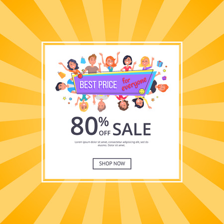 Best price for everyone promotional poster with happy customers, discount 80 off. Vector illustration on yellow background. People shopping, online banner shop now.