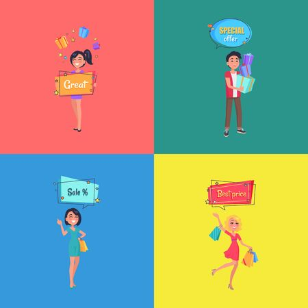 Set of Posters with People Making Shopping Vector