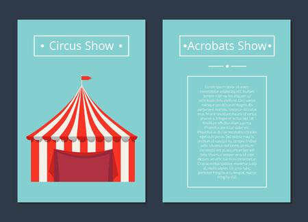 Zirkus jetzt Akrobaten zeigen mit Zelt in roten und weißen Farben, gekrönt von Flagge mit Platz für Text. Vektoranzeigenfahne auf blauem Hintergrund. Vektorgrafik