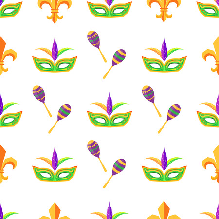 Carnival attributes vector seamless pattern 向量圖像