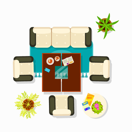 Living room interior decor with sofa, armchairs and plants flower and coffee table with plates, magazine and mobile phone illustration.