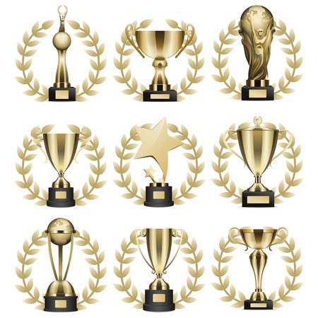 Ensemble d'icônes de trophées tasses et statuettes. Coupes et chiffres d'or brillant avec la Couronne de Laurier sur le stand avec le vecteur isolé réaliste de la plaque signalétique. Collection d'illustrations de prix de sport ou d'affaires. Banque d'images - 91306064