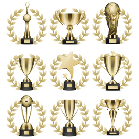 Trophy cups and statuettes icons set. Glossy golden goblets and figures with laurel wreath on stand with nameplate realistic isolated vector. Sports prize or business awards illustration collection.