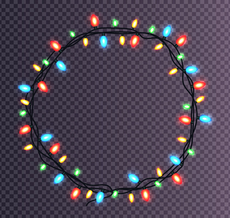 Colorful round frame made of Christmas lights. Sparkling multi-color light bulbs decorative border  on transparent background.