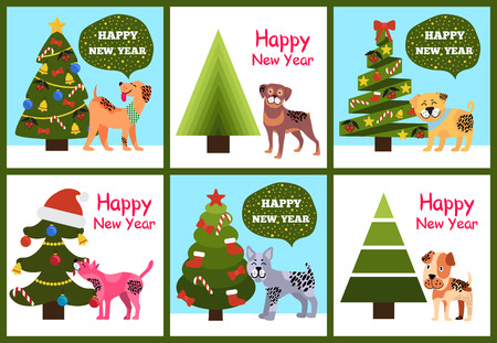 Happy New Year Posters Set Christmas Trees Puppies Stock Vector - 91311467