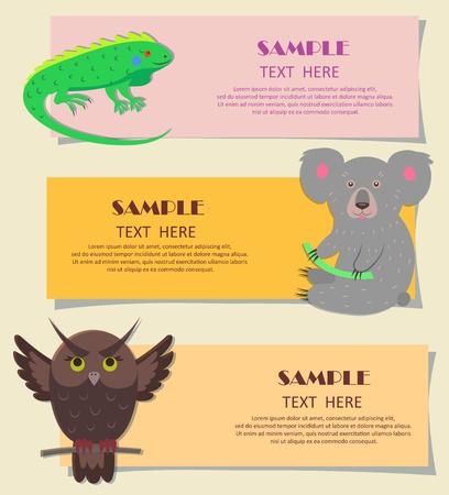 明るい緑色のイグアナ、灰色のコアラ、茶色のフクロウのベクトルイラスト。子供のカード上の3つの水平獣の概念。子供のためのカラフルなティー  イラスト・ベクター素材