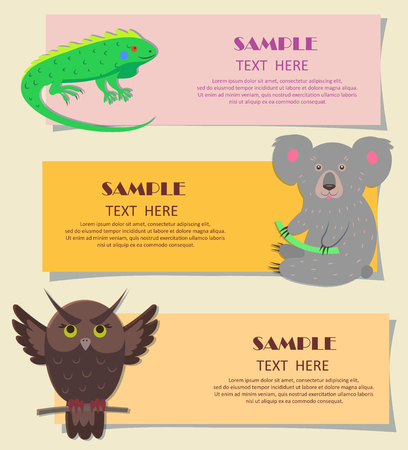 Vector illustration of bright green iguana, gray koala and brown owl with spread wings. Concept of three horizontal beasts on kids cards. Colorful teaching typography for children. Illustration