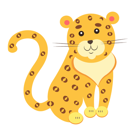Cute funny jaguar or leopard vector flat cartoon sticker isolated on white. Wild animal illustration for game counters, price tags.