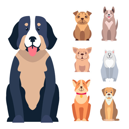 Cute dogs cartoon icons set. Happy doggies sitting with smiling muzzle and hanging out tongue flat vector isolated on white. Lovely purebred pets illustration for vet clinic, breed club or shop ad Ilustracja