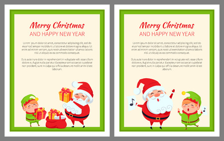 Merry Christmas and Happy New Year elf with Santa Claus. Bright posters on light background. Vector illustration with characters with presents in green frame.