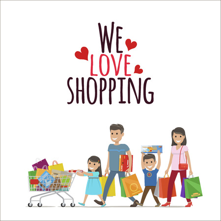 We Love Shopping Flat Vector Concept with Family
