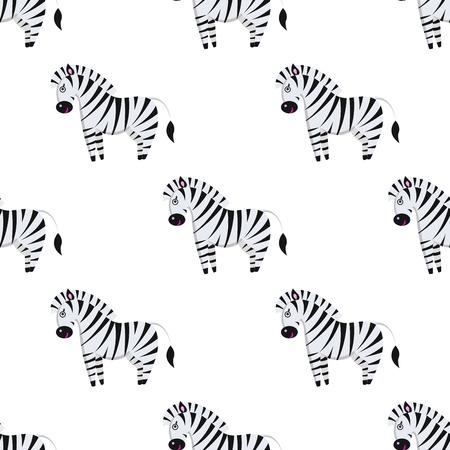 Cartoon Zebra Seamless Pattern on White Vector 일러스트