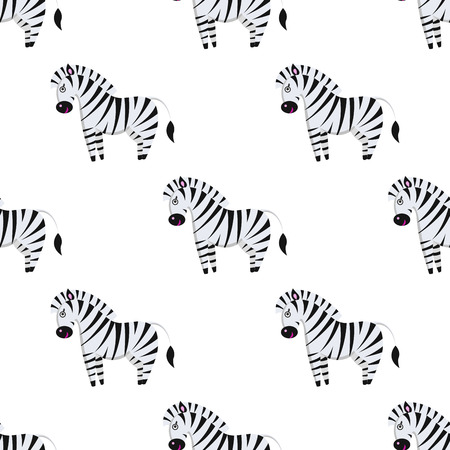 Cartoon Zebra Seamless Pattern on White Vector Çizim
