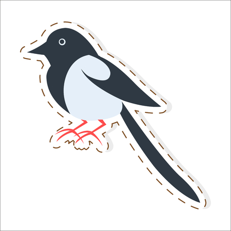 Cute Magpie Cartoon Flat Vector Sticker or Icon