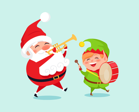 Santa Playing on Trumpet, Green Elf with Drum Illustration