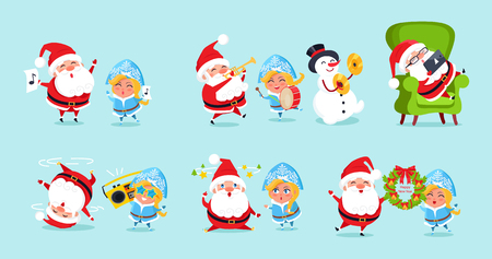 Santa Claus and His Friends Having Fun Icons