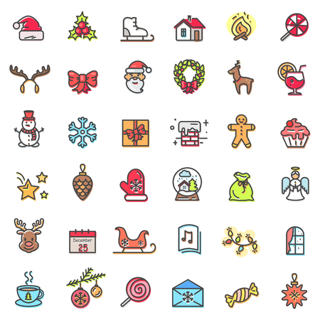 Christmas Holiday Set of Icons Vector Illustration
