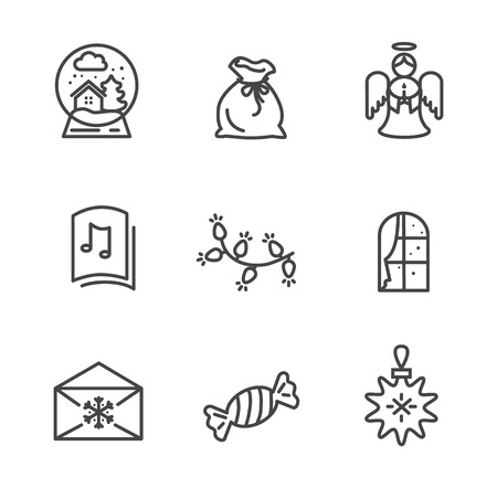 Set of Black Wintertime Icons Vector Illustration
