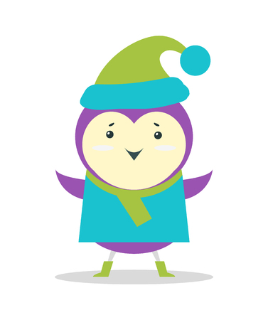 Small Purple Bird in Sweater and Hat with Pompon