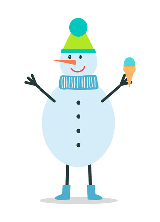 Snowman in Winter Hat and Scarf Holds Ice Cream