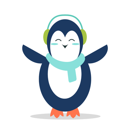 Sweet Penguin in Soft Earpieces and Warm Scarf