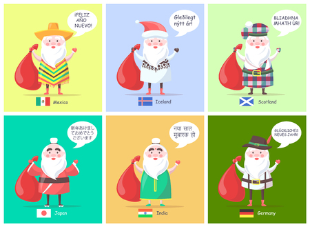 Mexico Iceland Santa Clauses Vector Illustration