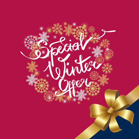 Special winter offer in decorative frame made of silver and golden snowflakes, snowballs of gold in x-mas border on pink background with bow in corner