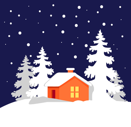 Pretty orange house with luminous window in snowy forest with white trees and snowfall vector illustration of winter evening isolated on dark blue