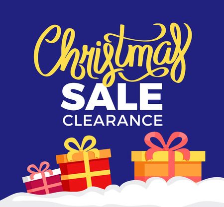 Christmas sale clearance poster, vector illustration with pretty gift boxes with colorful ribbons and bows isolated on dark blue background with frame
