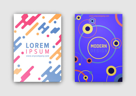 Modern design pages for web sites, headline and website link placed in center of coverings, circles and lines with shadow vector illustration Illusztráció