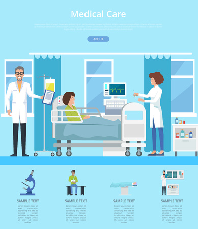 Medical care hospital review with doctor and nurse taking care after patient. Vector illustration with clinic room on blue background