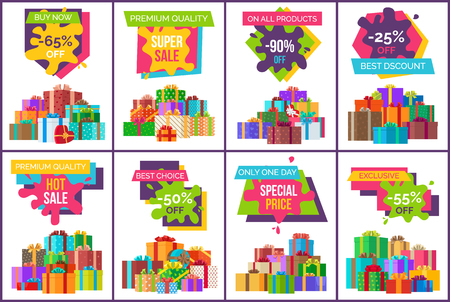Buy now best sale exclusive products set of posters discount signs decorated with gifts in wrapping paper. Vector illustration sale values on white