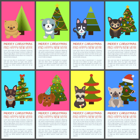 Merry Christmas and Happy New Year pets and spruce, vector illustration.