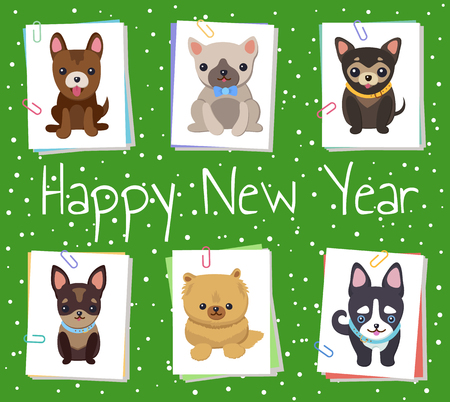 Happy New Year pets poster, vector illustration.