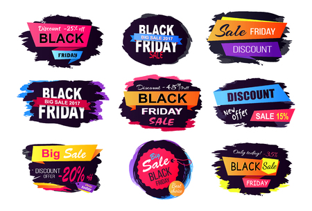 Discount -25 Off Black Friday Vector Illustration